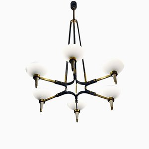 6-Light Chandelier in Brass and Blown Satin Glass from Stilnovo, 1950s