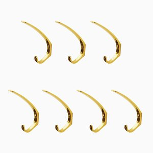 Austrian Mid-Century Brass Wall Hooks by Hertha Baller, Set of 7