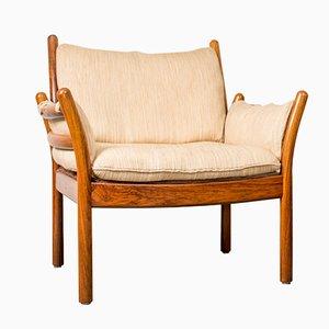 Vintage Genius Sessel aus Palisander & Weißem Stoff von Illum Wikkelsø für CFC Silkeborg