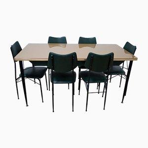 Mesa de comedor Mid-Century con seis sillas, años 50
