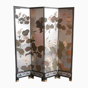 Japanese Silver-Leaf Four Panel Screen, 1970s