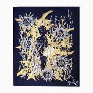 Tapiz Aquarius Mid-Century de Élie Grekoff para Tanit, años 50