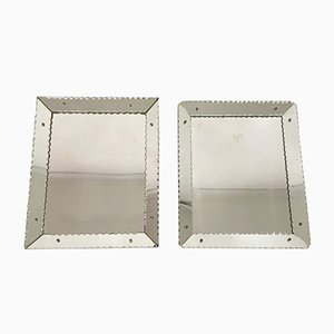 Vintage Scalloped-Edge Mirrors, Set of 2
