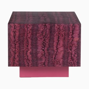 Osis Red Laquered Wooden Cube Table by LLOT LLOV