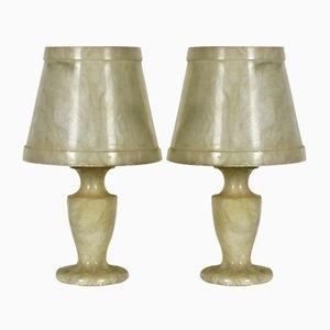 Petites Lampes de Chevet en Albâtre, 1960s, Set de 2