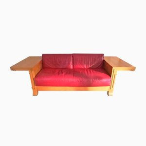 Robie 3 Two-Seat Leather Sofa by Frank Lloyd Wright for Cassina, 1989