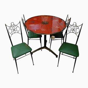 Juego de mesa de centro con los signos del zodiaco y sillas de Ignazio Gardella