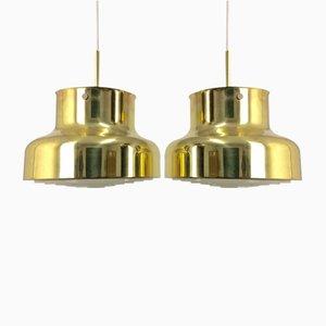 Lampade da soffitto Bumling in ottone di Anders Pehrson per Ateljé Lyktan,anni '70, set di 2