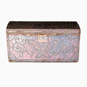 Genietete Antike Französische Leder Kiste