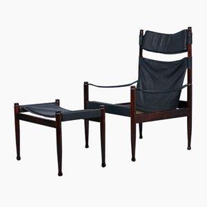 Safari Sessel & Pouf von Erik Wørts für Niels Eilersen,1960er, 2er Set