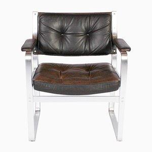 Brauner Mondo Leder& Aluminium Armlehnstuhl von Karl Erik Ekselius für JOC Vetlanda