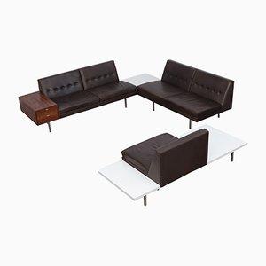 Conjunto de sillones modular de cuero marrón oscuro de George Nelson, años 50