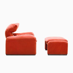 Vintage Maralunga 657 Armchair & Stool by Vico Magistretti for Cassina