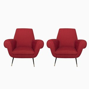 Mid-Century Italian Armchairs by Gigi Radice for Minotti, Set of 2
