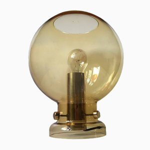 Spherical Smoke Glass & Brass Table Lamp by Hans-Agne Jakobsson, 1960s