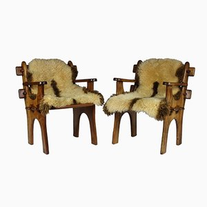 Scandinavian Teak Armchairs with Sheepskin, 1960s, Set of 2