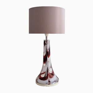 Italian Table Lamp in Glass & Chrome from Esperia, 1970s