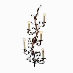 Applique da parete decorativa con fiori in vetro di Murano e ottone, anni '60