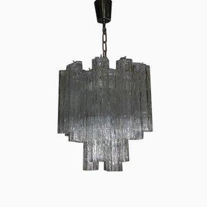Lámpara de araña italiana de cristal de Murano artístico de Venini, años 60