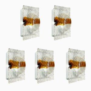 Lámparas de pared de cristal de Murano de Toni Zuccheri para Venini, años 60. Juego de 5
