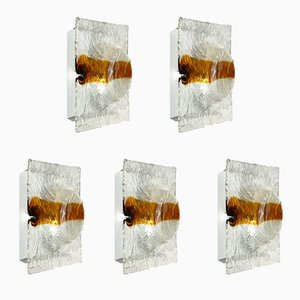 Wandlampen aus Murano Glas von Toni Zuccheri für Venini, 1960er, 5er Set