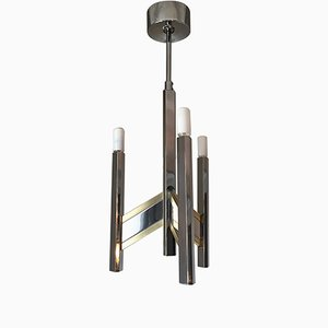 Concorde Chandelier in Chrome & Brass by Gaetano Sciolari, 1970s
