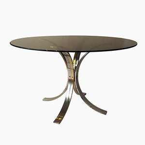 Dining Table in Chrome, Brass, & Tinted Glass, 1970s