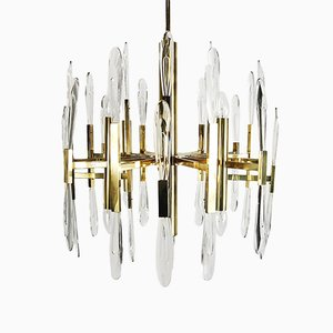 Italian Brass Chandelier with Glass Icicles by Gaetano Sciolari, 1970s
