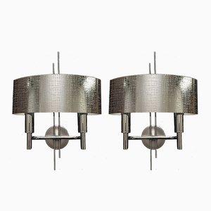 Metall Wandlampen von Gaetano Sciolari, 1970er, 2er Set