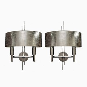 Metallic Sconces by Gaetano Sciolari, 1970s, Set of 2