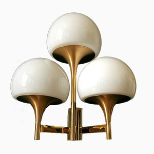 Golden Triple Wall Light by Gaetano Sciolari, 1970s