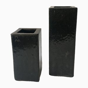 Black Cube Stoneware Vases, 1970s, Set of 2