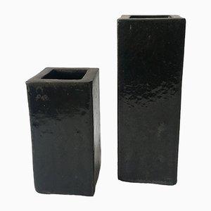 Schwarze Kubische Steingut Vasen, 1970er, 2er Set
