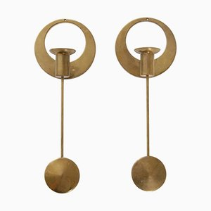 Brass Wall-Mounted Candleholders by Artur Pe Kolbäck, 1950s, Set of 2