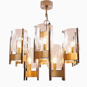 Vintage Chrome and Brass Chandelier by Gaetano Sciolari