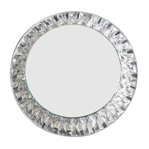Large Round Illuminated Crystal Glass Wall Mirror from Kinkeldey, 1960s