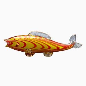 Jarrón Mid-Century con forma de pez de vidrio de Zelezny Brod