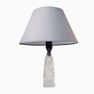 Lámpara de mesa escandinava vintage con base de cristal, años 40