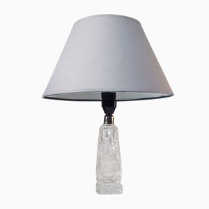 Vintage Scandinavian Table Lamp with Crystal Base, 1940s
