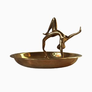Brass Ashtray with Acrobatic Figurine, 1950s