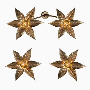 Vintage Brass Flower Light Set from Massive Lighting, 1970s