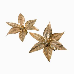 Brass Flower Wall Lights from Massive, 1970s, Set of 2