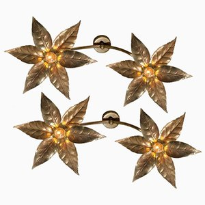 Belgian Double Flower Wall Lights from Massive, 1970s, Set of 2