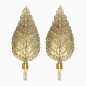 Large Wall Sconces in Golden Murano Glass from Barovier & Toso, 1960s, Set of 2
