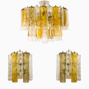 Set vintage di due lampade da parete e un lampadario di Barovier & Toso
