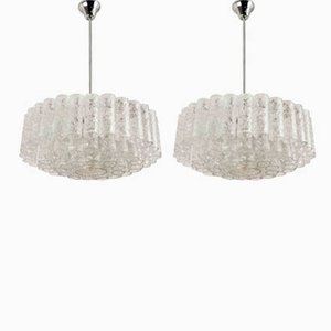 Chandeliers with 60 Glass Tubes from Doria, 1960s, Set of 2