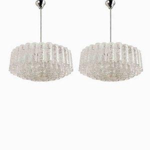 Lámparas de araña con 60 tubos de vidrio de Doria, años 60. Juego de 2