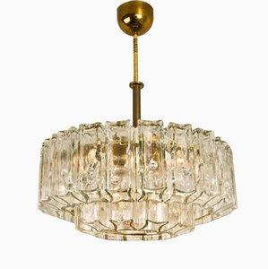 Glass & Brass Chandelier by J.T. Kalmar, 1960s