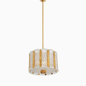 Lámpara colgante austriaca cilíndrica de metal dorado y cristal de hielo esmerilado de J.T. Kalmar, años 60