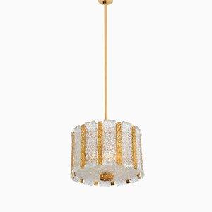 Trommelförmige Vergoldete Österreichische Hängelampe aus Eisglas von J.T. Kalmar, 1960er